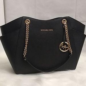Michael Kors Black Leather Chain Shoulder Bag
